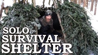 SOLO SURVIVAL SHELTER in the FOREST with HAND TOOLS | COOKING on HOVERING GRILL