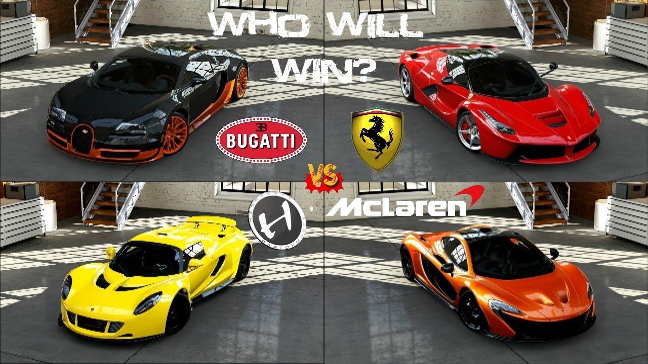 Bugatti Car Forza 5 Bugatti Vs Hennessey Vs La Ferrari Vs Mclaren P1 Head To