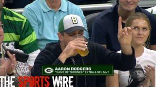 Aaron Rogers chugging beer fail vs David Bakhtiari Bucks game