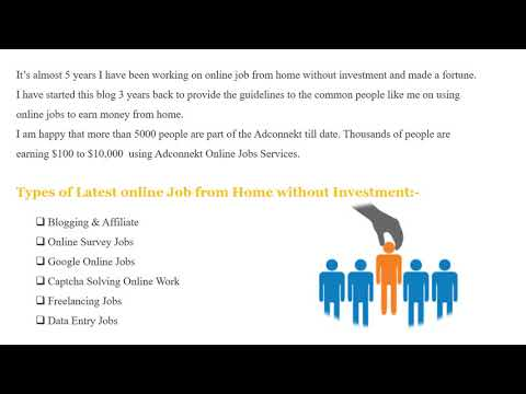 Online Job from Home Without Investment