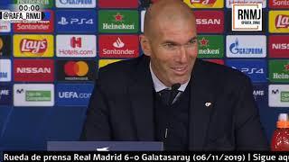 Real Madrid 6-0 Galatasaray Rueda de prensa post de ZIDANE Champions (06/11/2019)