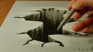 Рисунок 3D разлома или дыры в столе – трюки рисования простым карандашом