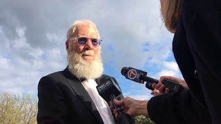 David Letterman speaks to press before President Obama receives award