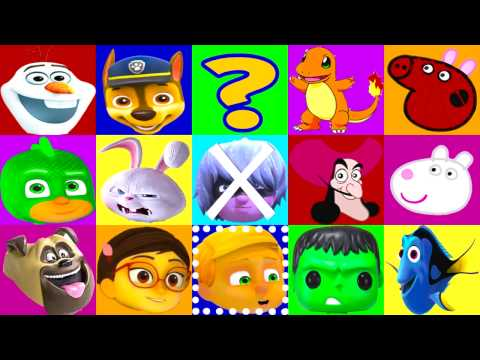 PJ Masks Learning Colors Game with Catboy, Trolls Movie, Paw Patrol, Peppa Pig, Disney Moana