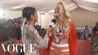 Elle Fanning on Her Malibu Barbie Met Gala Look | Met Gala 2019 With Liza Koshy | Vogue