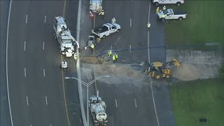 Giant hole in William Lehman Causeway caused by sewer main break
