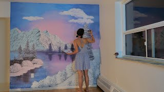 Following a Bob Ross painting tutorial on MY WALL!
