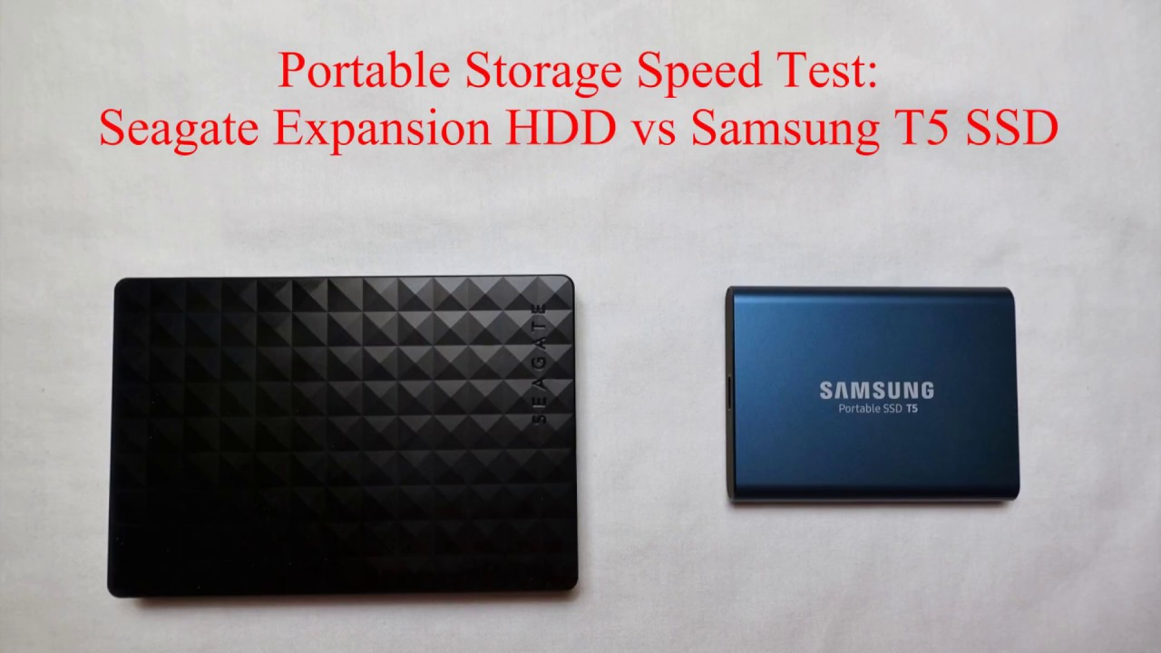 Samsung T5 Portable SSD vs Seagate Expansion HDD Speed Test Comparison