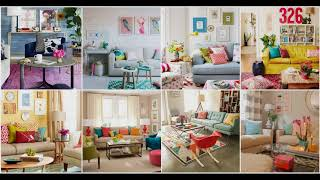 Colorful Living Room Ideas | Furniture Design Wall Fall Decor Curtain Dollar Three Declutter 2018