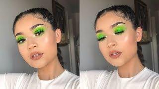 GRWM - Neon Green Glittery Smokey Eye
