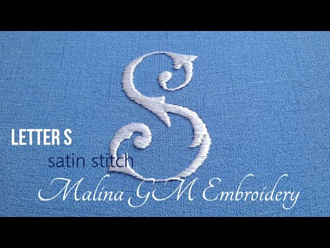 How to embroider the letter S   Satin Stitch   Hand Embroidery