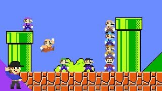 What if 8 Marios tried to beat Super Mario Bros.?