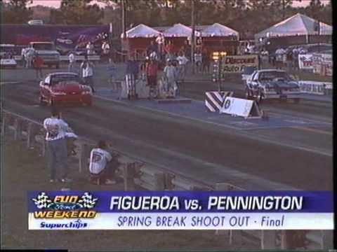 Supercharged Mustang on Drag radials getting sideways at 150mph - 2000 Spring Break Shootout - UPR