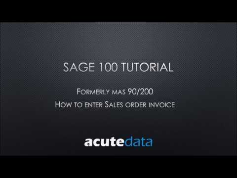 Sage 100 - How to enter Sales Order Invoice
