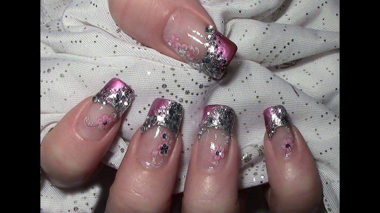 metallic glitter nageldesign mit water nail tattoos zum. Black Bedroom Furniture Sets. Home Design Ideas