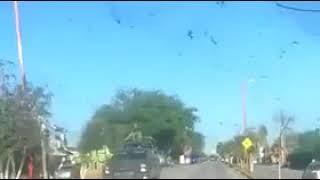 Convoy de militares llegando a Río Bravo, ante violencia