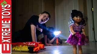 Crazy Doll Nerf Battle Round 3! Sneak Attack Squad VS Spooky Doll!