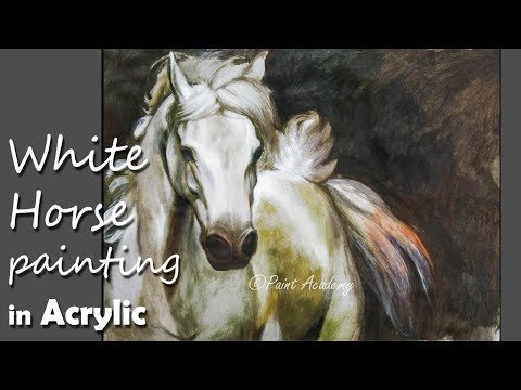 Acrylic Painting | White Horse painting step by step