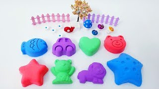 Learn Colors with 4 Color Kinetic Sand and Wild Animals Molds, Kinder Surprise Eggs | TicTic Toys