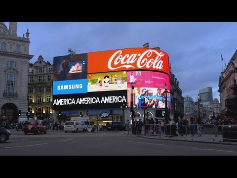 "Alfredo Jaar's ""A Logo for America"" in Piccadilly Circus"