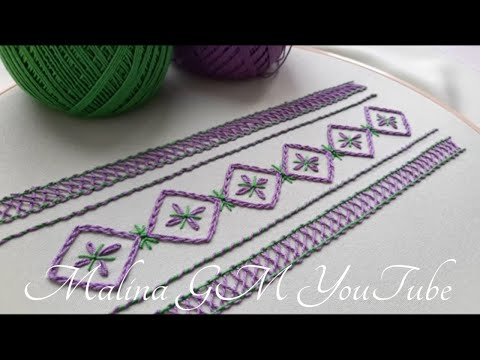 Embroidery for Beginners   cute Flower Border   simple stitches