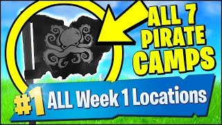 *NEW* VISIT ALL 7 PIRATE CAMPS & GIANT FACE *LOCATIONS* (Fortnite Season 8 Week 1 Challenges)