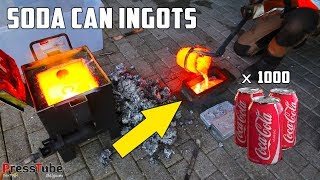 Shredding & Melting 1000 Coca Cola Soda Cans Into Huge Aluminium Ingots