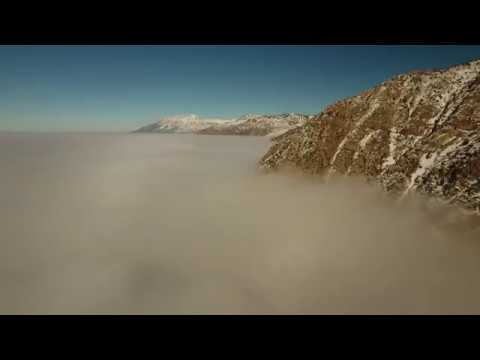 Drone flies above Utah Inversion in Ogden