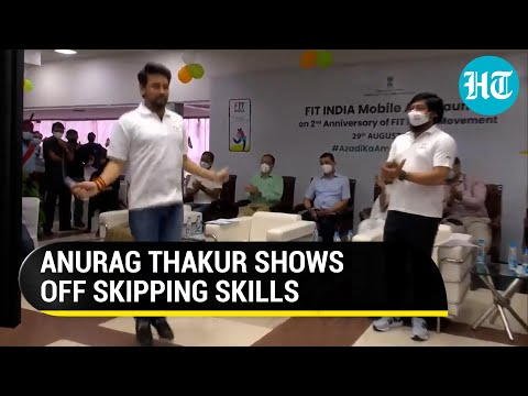 Sports Minister Anurag Thakur impresses people with his skipping skills