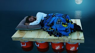 We Built Boats & Slept on them Overnight!! *DONT SINK SURVIVAL*