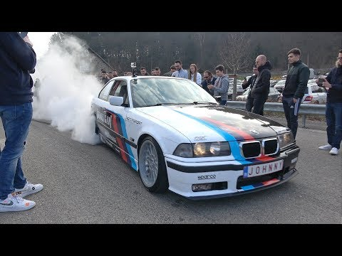 CRAZY BMW E36 Owner Makes Great Donuts & Burnouts!