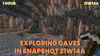 Exploring Caves 1 Hour in New Snapshot 21w14a | Relaxing Gameplay | Caves in 1.17