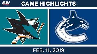 NHL Highlights | Sharks vs. Canucks - Feb 11, 2019