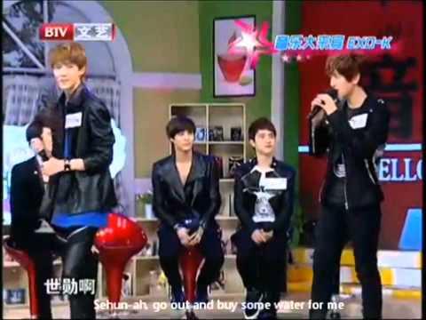 Sehun hitting his hyungs (Suho, Baekhyun & Kai) xD