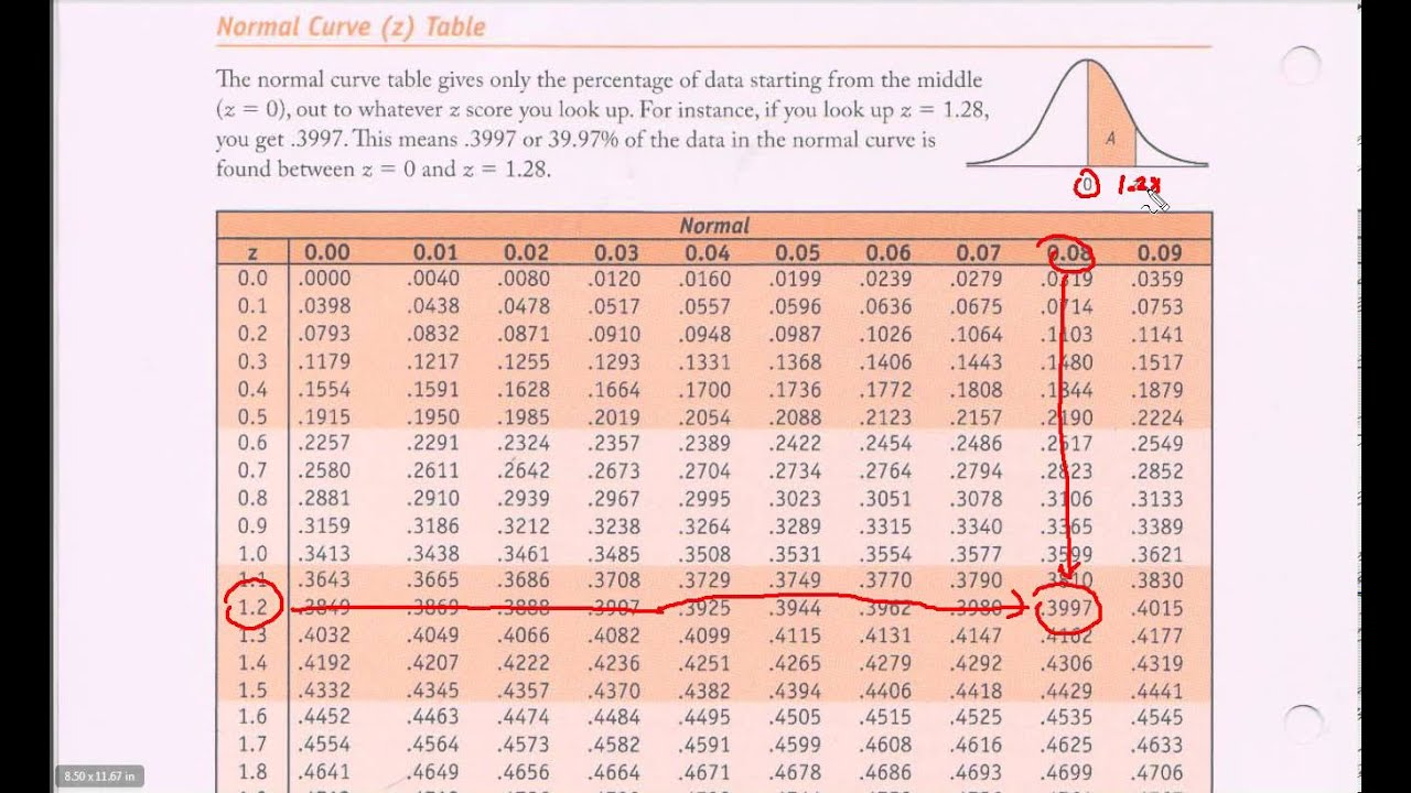Normal Distribution Table - Z-table Introduction - YouTube Z Table Chart