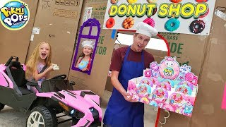 Box Fort Drive Thru Donut Shop! Driving Cars Buying Pikmi Pops Doughmi Toys!
