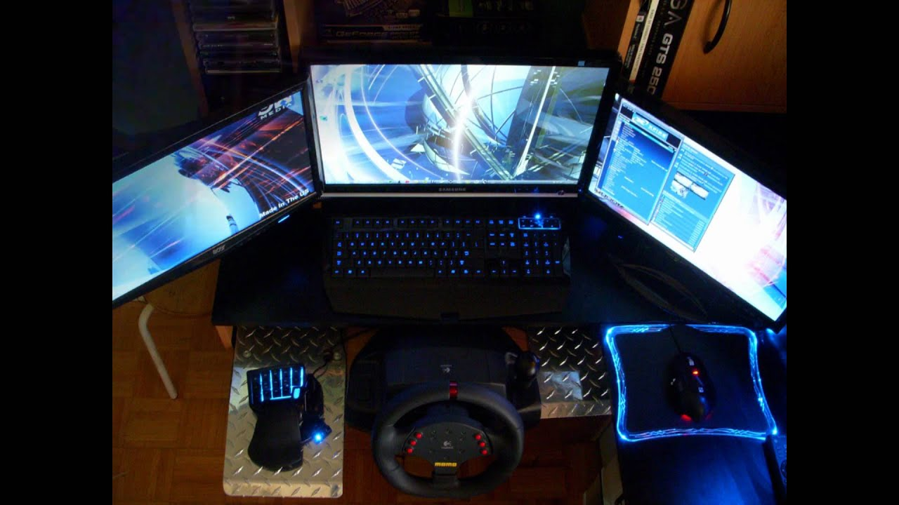 triple screen gaming pc setup