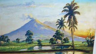 Dạy Vẽ Tranh Phong Cảnh Đồng Quê Bài 6, p1. ( Học vẽ miễn phí). Painting teaching for free