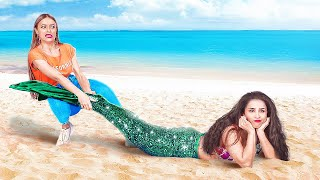 24 HOURS AS A MERMAID CHALLENGE    Funny Mermaid Situations by 123 GO!