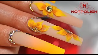 HOW TO DO 3D SUNFLOWER NAIL TUTORIAL I ACRYLIC COFFIN SHAPE I NOTPOLISH ART DESIGN I 2020 TREND