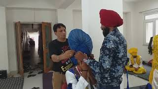 How to tie blue color BHANGRA style TURBAN BALJINDER SINGH INTERNATIONAL