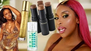 Fenty BODY LAVA?! Milk HydroGrip Primer...? Trying New Makeup!   Jackie Aina