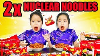 SPICY 2X NUCLEAR NOODLE CHALLENGE   Tran Twins