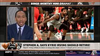 FIRST TAKE STEPHEN SMITH KYRIE IS NOT WORTH DRAMA AND SHOULD RETIRE