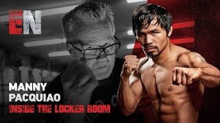 Manny Pacquiao In his locker room seconds before Thurman fight looks impressive
