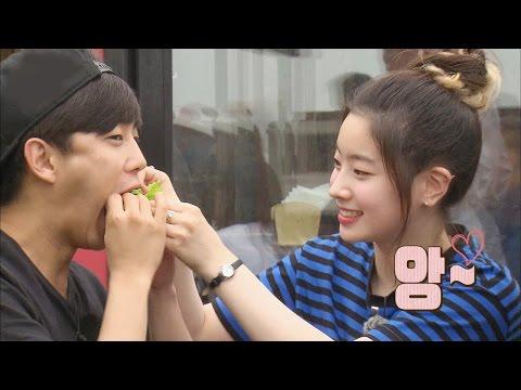 TWICE Dahyun feeds Kim Min Seok so shy @꽃놀이패 2회 20160716