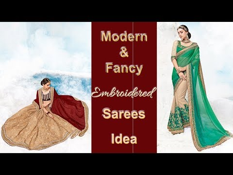 Designer Sarees: Fancy Georgette Chiffon Half Saree Blouse with Embroidery Designs Collection Online