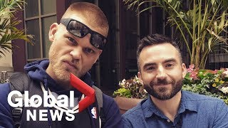 """Raptors' fan """"Plant Guy"""" catches up with Global News reporter after viral video"""