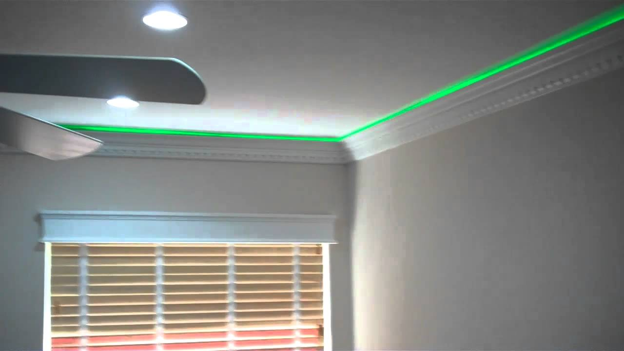 More Crown Moulding With Led Lights Youtube