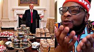 President Donald Trump Serves Fast Food To Football Players At White House